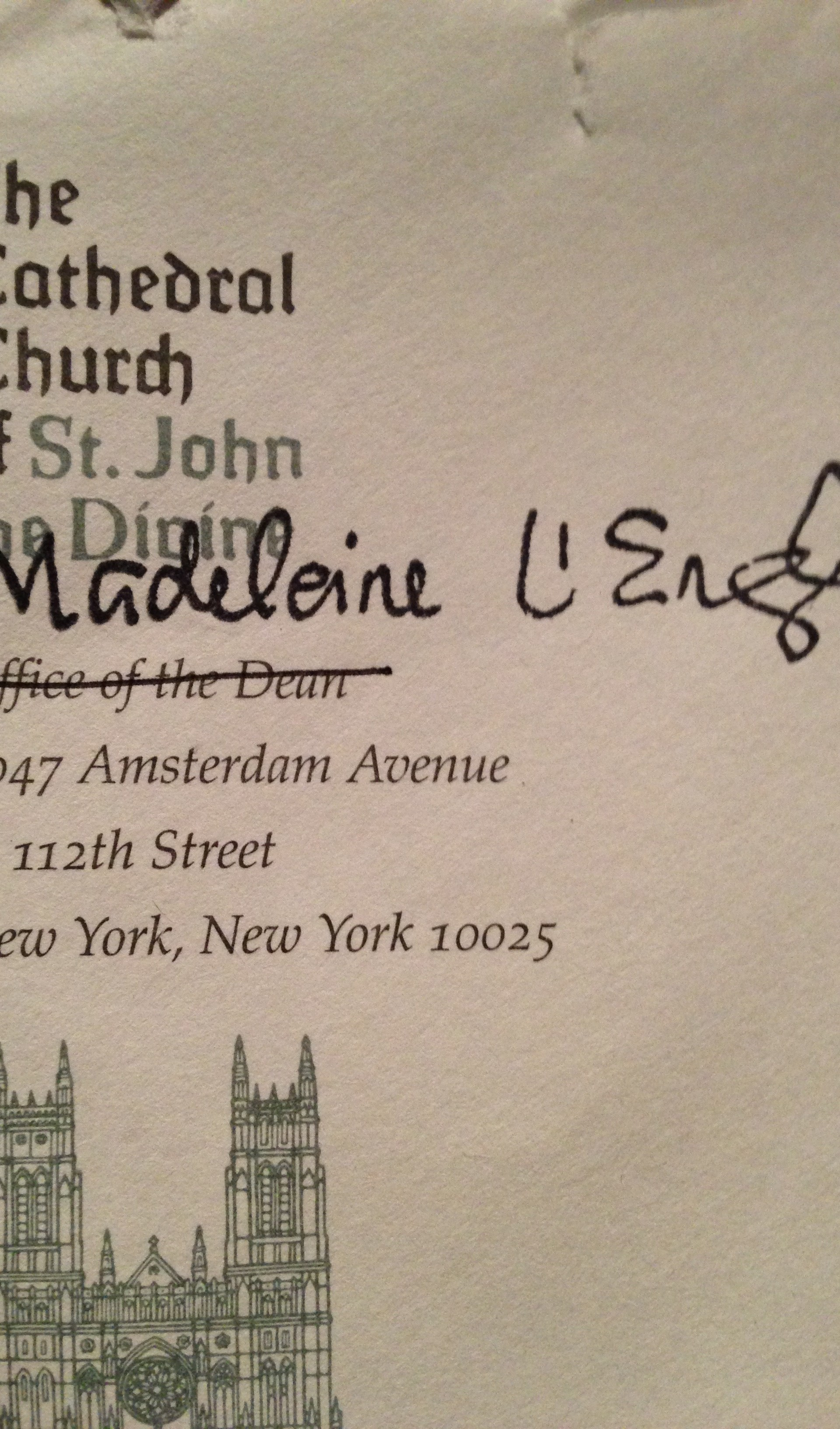 A Letter From Madeleine L'Engle
